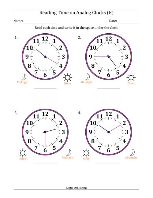 The Reading 12 Hour Time on Analog Clocks in 5 Minute Intervals (4 Large Clocks) (E) Math Worksheet