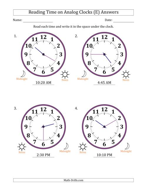 The Reading Time on 12 Hour Analog Clocks in 5 Minute Intervals (Large Clocks) (E) Math Worksheet Page 2