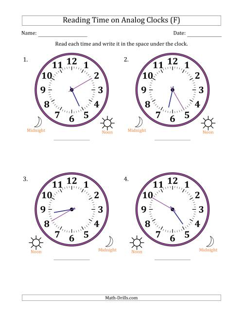 The Reading Time on 12 Hour Analog Clocks in 5 Minute Intervals (Large Clocks) (F) Math Worksheet