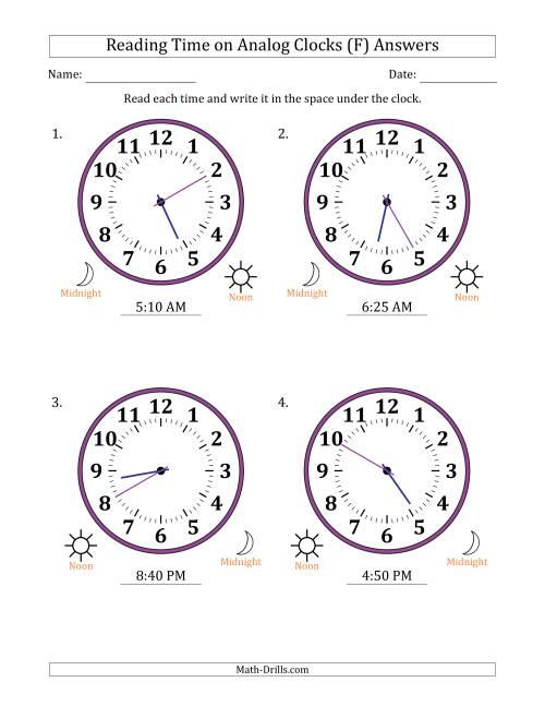 The Reading Time on 12 Hour Analog Clocks in 5 Minute Intervals (Large Clocks) (F) Math Worksheet Page 2