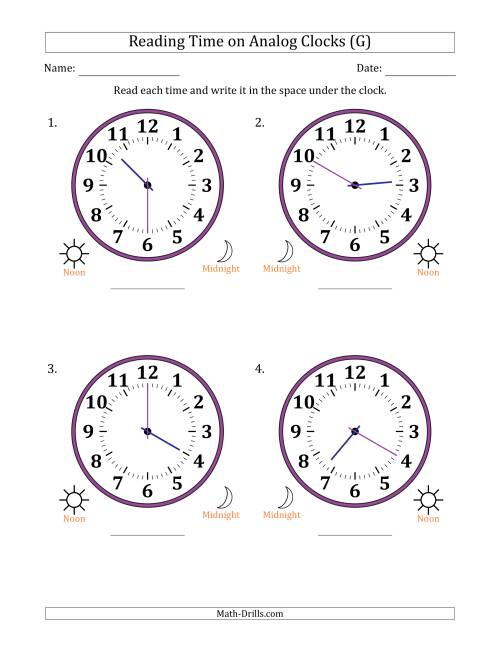 The Reading Time on 12 Hour Analog Clocks in 5 Minute Intervals (Large Clocks) (G) Math Worksheet