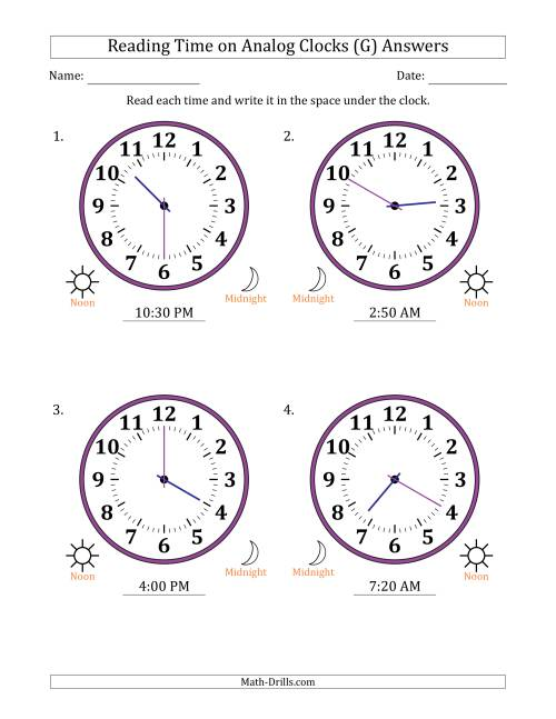 The Reading Time on 12 Hour Analog Clocks in 5 Minute Intervals (Large Clocks) (G) Math Worksheet Page 2