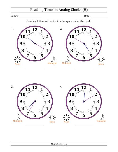 The Reading Time on 12 Hour Analog Clocks in 5 Minute Intervals (Large Clocks) (H) Math Worksheet