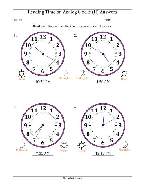 The Reading Time on 12 Hour Analog Clocks in 5 Minute Intervals (Large Clocks) (H) Math Worksheet Page 2