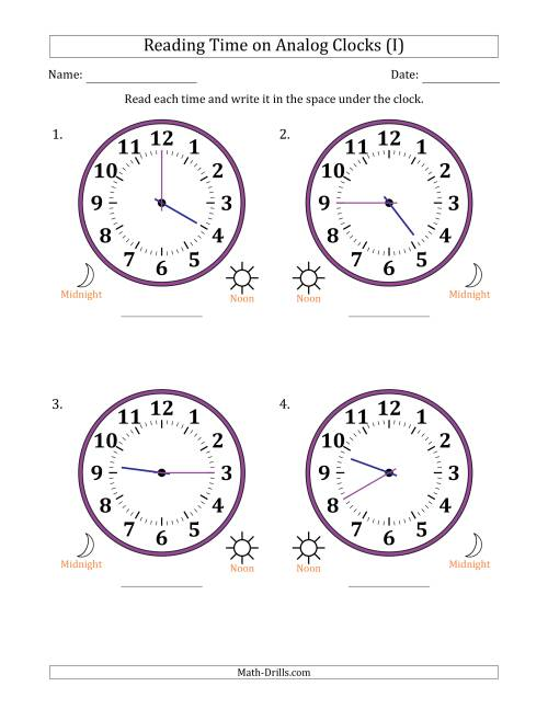 The Reading Time on 12 Hour Analog Clocks in 5 Minute Intervals (Large Clocks) (I) Math Worksheet