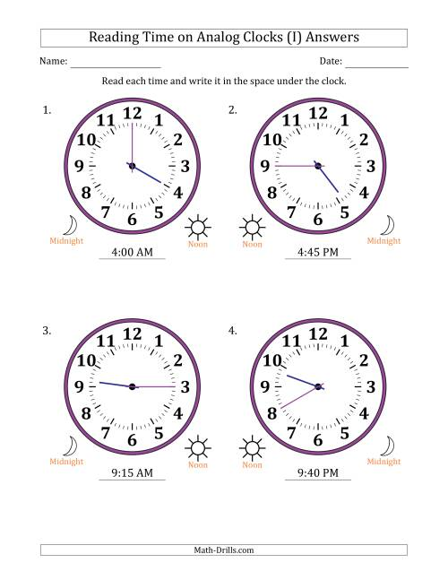 The Reading Time on 12 Hour Analog Clocks in 5 Minute Intervals (Large Clocks) (I) Math Worksheet Page 2