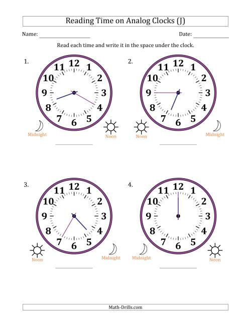 The Reading Time on 12 Hour Analog Clocks in 5 Minute Intervals (Large Clocks) (J) Math Worksheet