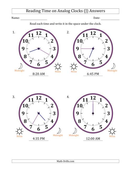 The Reading Time on 12 Hour Analog Clocks in 5 Minute Intervals (Large Clocks) (J) Math Worksheet Page 2