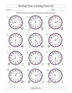 Reading 12 Hour Time on Analog Clocks in 15 Minute Intervals (12 Clocks)