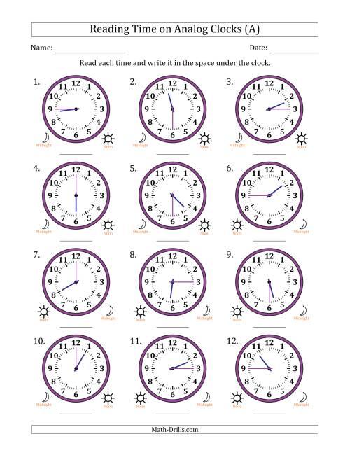 Maths Clock Worksheets On 12 Hour Analog Clocks In 15 Minute – Analog Clock Worksheets