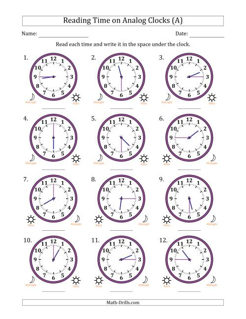 The Reading 12 Hour Time on Analog Clocks in 15 Minute Intervals (12 Clocks) (A) Math Worksheet
