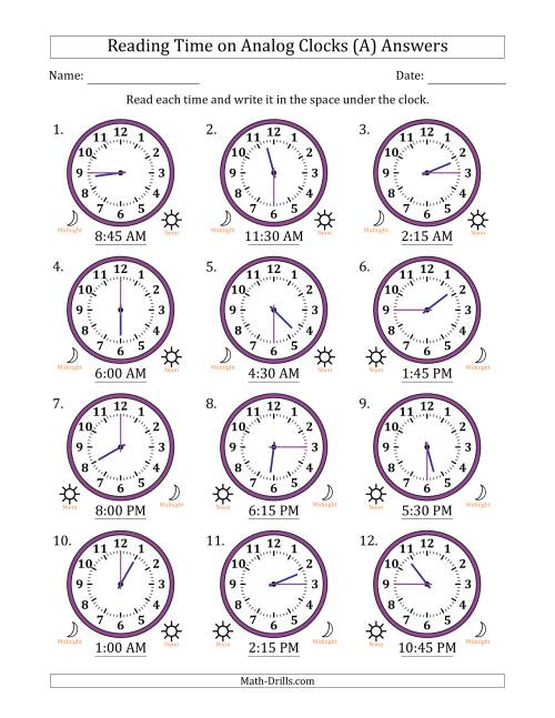 The Reading Time on 12 Hour Analog Clocks in 15 Minute Intervals (A) Math Worksheet Page 2