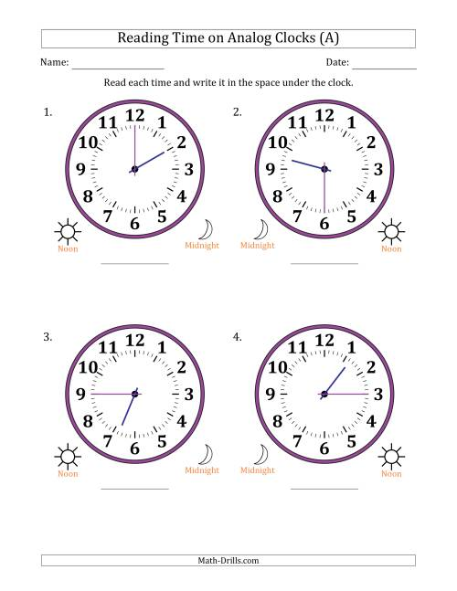 The Reading Time on 12 Hour Analog Clocks in 15 Minute Intervals (Large Clocks) (A)