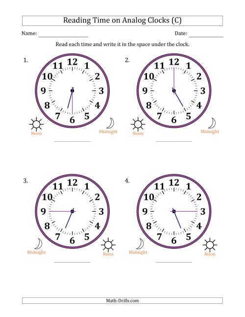 The Reading Time on 12 Hour Analog Clocks in 15 Minute Intervals (Large Clocks) (C) Math Worksheet