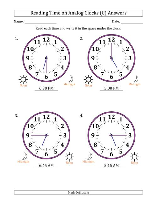 The Reading Time on 12 Hour Analog Clocks in 15 Minute Intervals (Large Clocks) (C) Math Worksheet Page 2