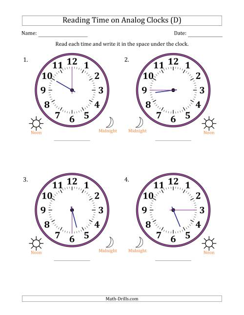 The Reading Time on 12 Hour Analog Clocks in 15 Minute Intervals (Large Clocks) (D) Math Worksheet