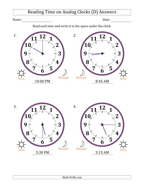 The Reading Time on 12 Hour Analog Clocks in 15 Minute Intervals (Large Clocks) (D) Math Worksheet Page 2