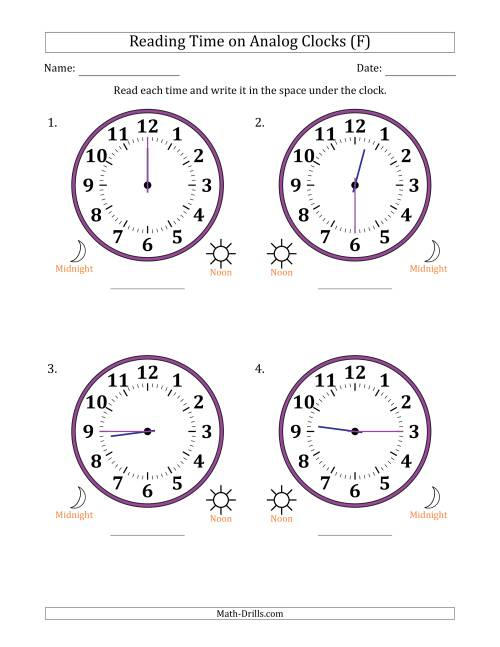 The Reading Time on 12 Hour Analog Clocks in 15 Minute Intervals (Large Clocks) (F) Math Worksheet