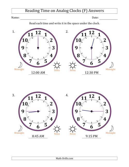 The Reading Time on 12 Hour Analog Clocks in 15 Minute Intervals (Large Clocks) (F) Math Worksheet Page 2