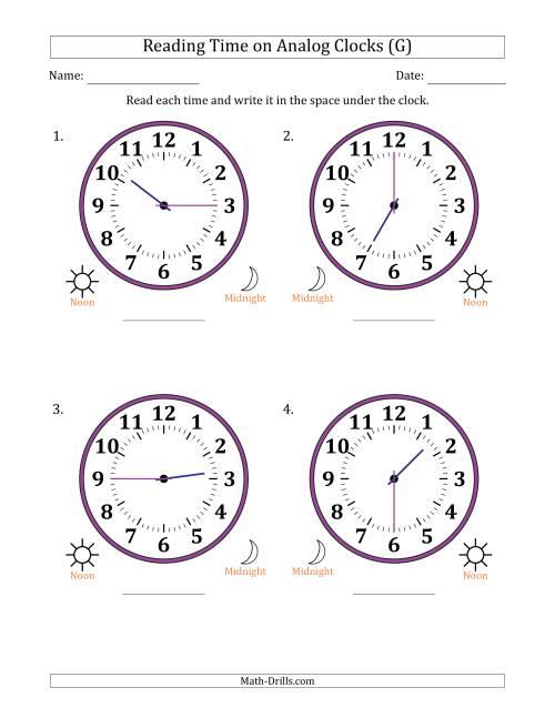 reading time on 12 hour analog clocks in 15 minute intervals large clocks g. Black Bedroom Furniture Sets. Home Design Ideas
