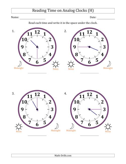 The Reading Time on 12 Hour Analog Clocks in 15 Minute Intervals (Large Clocks) (H) Math Worksheet