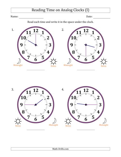 The Reading Time on 12 Hour Analog Clocks in 15 Minute Intervals (Large Clocks) (I) Math Worksheet