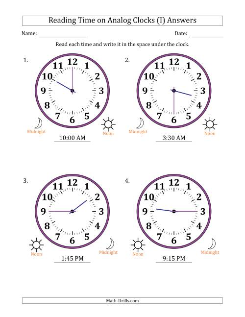 The Reading Time on 12 Hour Analog Clocks in 15 Minute Intervals (Large Clocks) (I) Math Worksheet Page 2