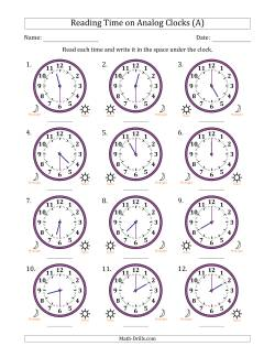 Reading 12 Hour Time on Analog Clocks in 30 Minute Intervals (12 Clocks)