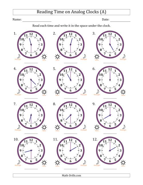 The Reading 12 Hour Time on Analog Clocks in 30 Minute Intervals (12 Clocks) (A) Math Worksheet