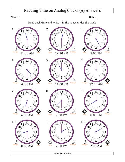 The Reading 12 Hour Time on Analog Clocks in 30 Minute Intervals (12 Clocks) (A) Math Worksheet Page 2