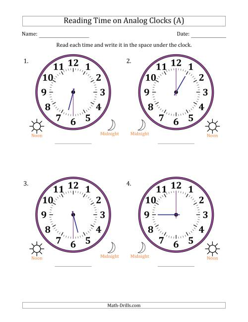 The Reading Time on 12 Hour Analog Clocks in Half Hour Intervals (Large Clocks) (A) Math Worksheet