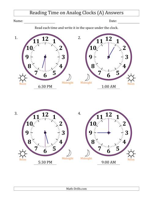 The Reading Time on 12 Hour Analog Clocks in Half Hour Intervals (Large Clocks) (A) Math Worksheet Page 2