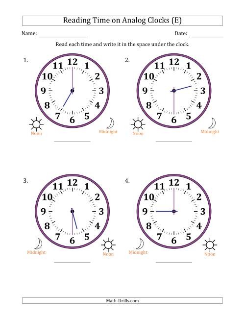 The Reading Time on 12 Hour Analog Clocks in Half Hour Intervals (Large Clocks) (E) Math Worksheet