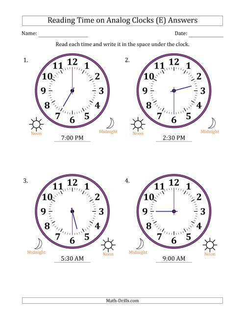 The Reading Time on 12 Hour Analog Clocks in Half Hour Intervals (Large Clocks) (E) Math Worksheet Page 2