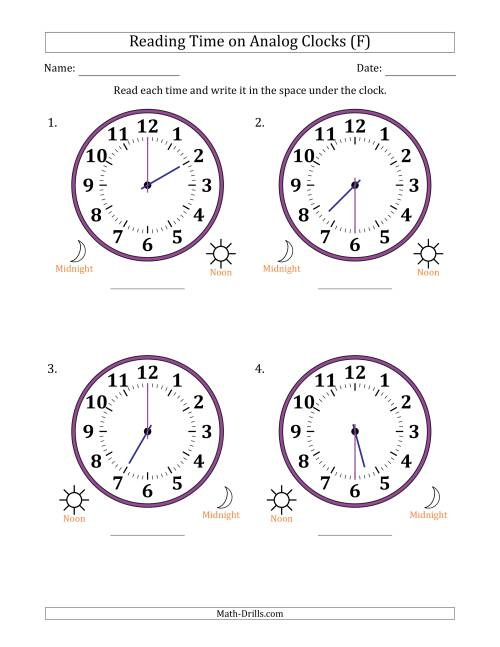 The Reading Time on 12 Hour Analog Clocks in Half Hour Intervals (Large Clocks) (F) Math Worksheet