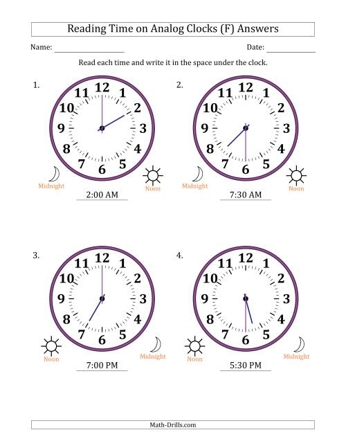 The Reading Time on 12 Hour Analog Clocks in Half Hour Intervals (Large Clocks) (F) Math Worksheet Page 2