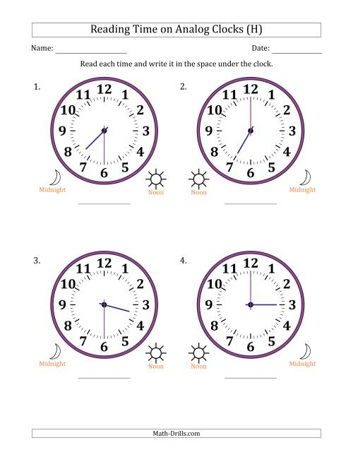 The Reading Time on 12 Hour Analog Clocks in Half Hour Intervals (Large Clocks) (H) Math Worksheet