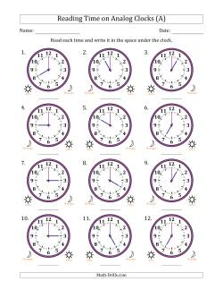Reading 12 Hour Time on Analog Clocks in One Hour Intervals (12 Clocks)