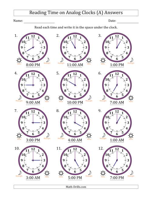 The Reading Time on 12 Hour Analog Clocks in One Hour Intervals (A) Math Worksheet Page 2