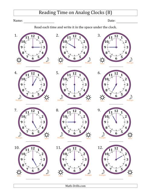 The Reading Time on 12 Hour Analog Clocks in One Hour Intervals (B) Math Worksheet