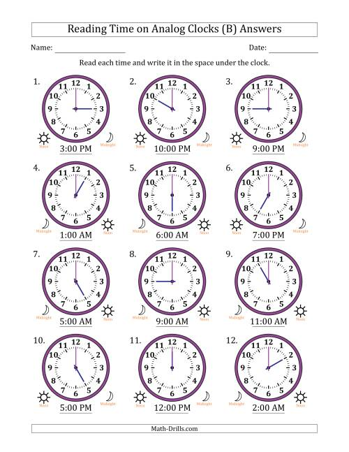 The Reading Time on 12 Hour Analog Clocks in One Hour Intervals (B) Math Worksheet Page 2