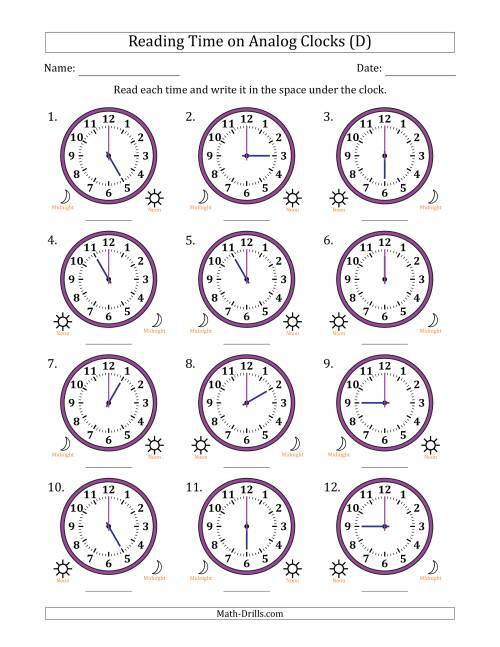 The Reading Time on 12 Hour Analog Clocks in One Hour Intervals (D) Math Worksheet