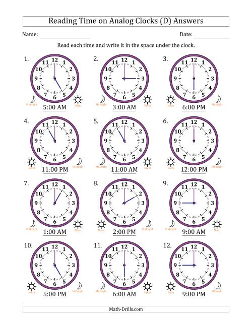 The Reading Time on 12 Hour Analog Clocks in One Hour Intervals (D) Math Worksheet Page 2
