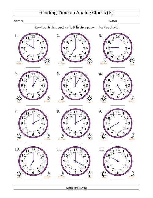 The Reading Time on 12 Hour Analog Clocks in One Hour Intervals (E) Math Worksheet