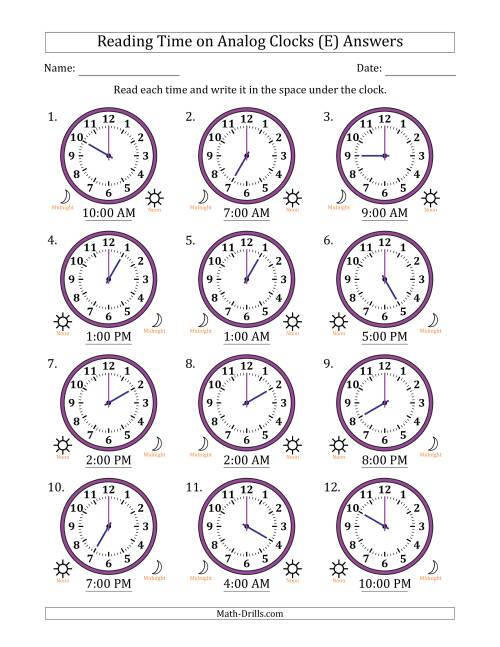 The Reading Time on 12 Hour Analog Clocks in One Hour Intervals (E) Math Worksheet Page 2