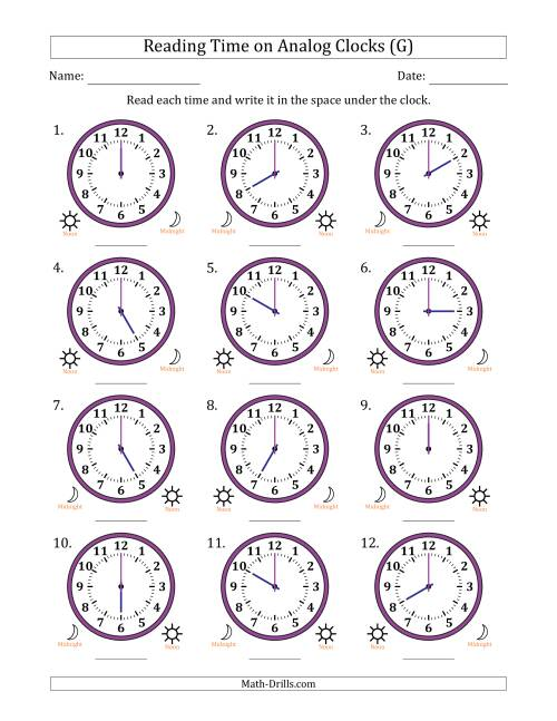 The Reading Time on 12 Hour Analog Clocks in One Hour Intervals (G) Math Worksheet
