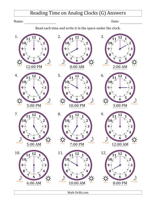 The Reading Time on 12 Hour Analog Clocks in One Hour Intervals (G) Math Worksheet Page 2