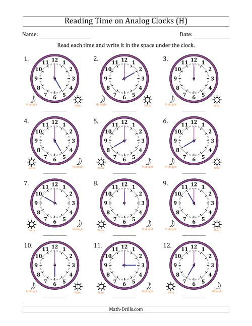 The Reading Time on 12 Hour Analog Clocks in One Hour Intervals (H) Math Worksheet