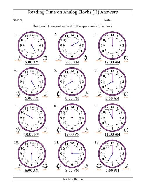The Reading Time on 12 Hour Analog Clocks in One Hour Intervals (H) Math Worksheet Page 2
