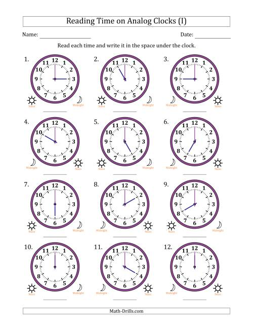 The Reading Time on 12 Hour Analog Clocks in One Hour Intervals (I) Math Worksheet